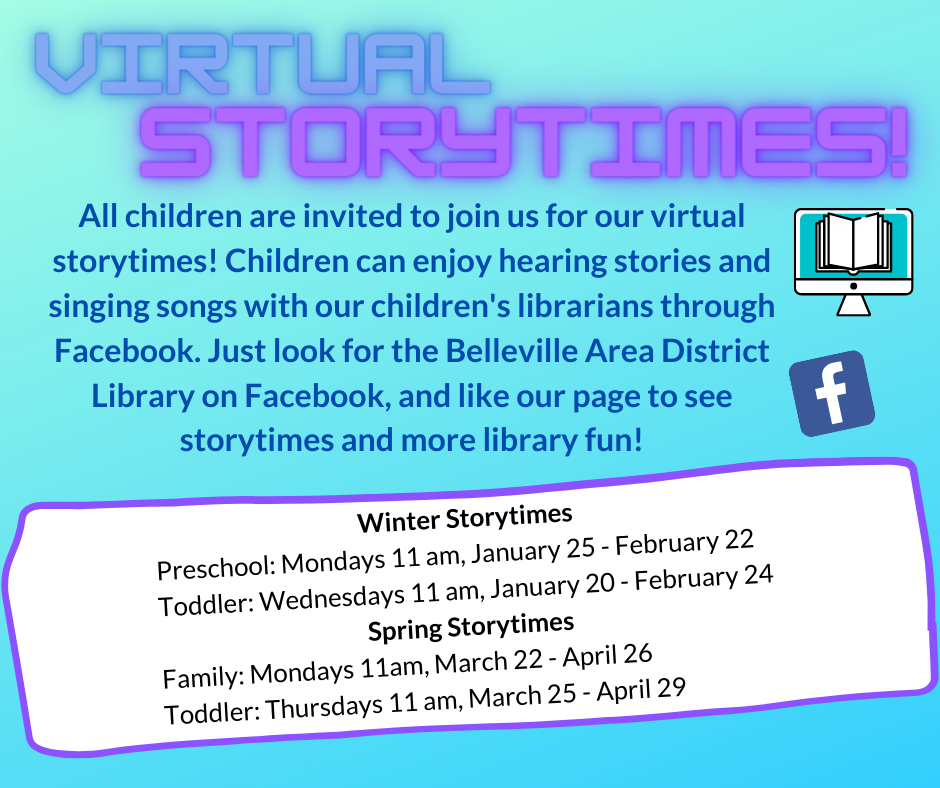 Family Storytime post to Facebook Mondays at 11 am, 11/16--12/14. Toddler Storytime post to Facebook Thursdays at 11 am, 11/19--12/17.